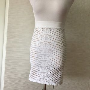 Bebe Cut Out Bodycon Skirt in White